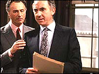 Paul Eddington with Nigel Hawthorn as Sir Humphrey