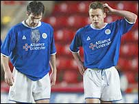 Keith Gillespie (left) and Paul Dickov during the game