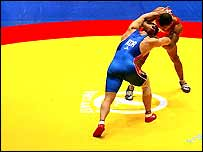 Action from a freestyle wrestling bout