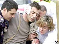 Injured victim of bomb attack in Madrid