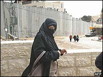 A Palestinian woman walks next to the concrete blocks that divide in two the West Bank town of Abu Dis