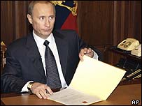 Russian President Vladimir Putin with the decree dismissing the government