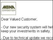 Fake MBNA e-mail
