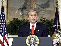 President George W Bush announces his support for a constitutional amendment banning gay marriage