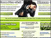 Screen grab of Kazaa's website