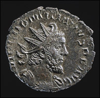Face of Roman coin showing Emperor Domitianus