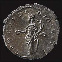 Back of Roman coin struck by Emperor Domitianus