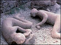 Casts of bodies lying on the ground