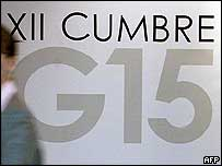 G15 sign at the summit  in Caracas