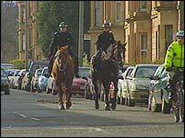 Police on patrol in Pollokshields