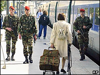 French troops on patrol at Gare de Lyon train station in Paris