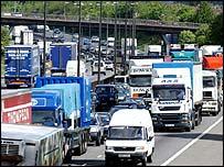 Heavy goods lorries on a British road