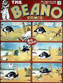 Cover of first Beano with Big Eggo the ostrich
