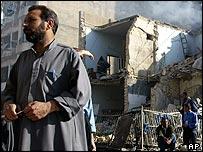 The blast scene at the Mount Lebanon Hotel