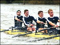 Oxford in practice for the Boat Race