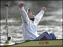 Cambridge cox Kevin Whyman celebrates winning the Boat Race in 1997