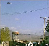 An army helicopter flying in the vicinity of Wana, South Waziristan