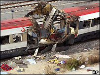 One of the trains destroyed by a bomb outside Atocha station in Madrid