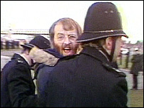 Tony Fletcher being arrested at Babbington colliery