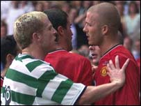 Celtic's Neil Lennon and former Manchester United star David Beckham