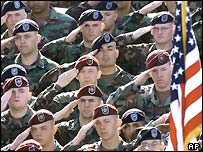 Soldiers at Fort Campbell, Kentucky get ready to greet George W Bush