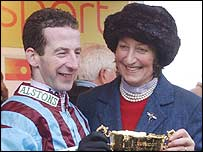Jim Culloty and Henrietta Knight celebrate the victory