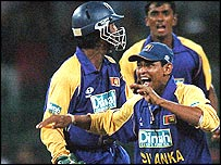 Tillakaratne Dilshan of Sri Lanka celebrates a wicket