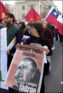 Protestas en Santiago de Chile contra Pinochet