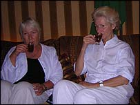 Sally Hanford (left) and Anne McIntyre in a traditional Bedouin tent
