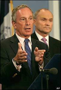 New York Mayor Michael Bloomberg (left) and New York City's Police Commissioner Raymond Kelly during a news conference