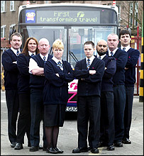 Some of the officers who will patrol buses in Glasgow