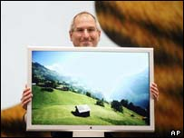 Steve Jobs with Apple 30-inch screen, AP