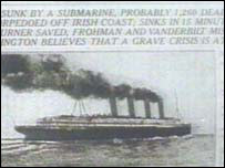 Newspaper clip of Lusitania