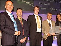 Kevin McLeod, Richard Mudge head teacher, Fourth from left Martin Penk, fifth from left Nathan Davis