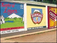 Billboard adverts for Tanzania Breweries