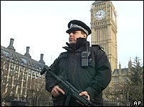 Police officer stands guard at Parliament