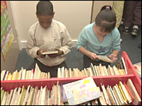 Children selecting books