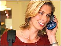 Woman holding Blackberry