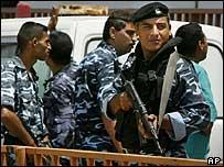 Palestinian police at the Shifa Hospital in Gaza City