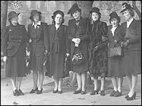 Some of the widows and relatives of the crew of the lifeboat