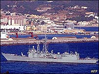 Spanish warship in enclave of Ceuta in North Africa