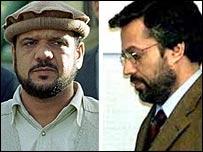 Mohammed Fahim (L) and Yunus Qanuni