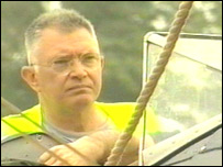 Martin Shaw inspects the damage