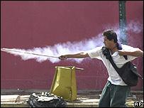 Un manifestante opositor.