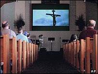 The Passion trailer being screened in a church