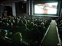 The Passion being screened in a cinema