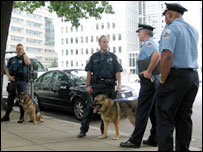 Bomb dogs patrol the area near the World Bank