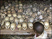 Piles of skulls belonging to victims of the Rwandan genocide