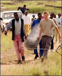 Harry helps out with fence-building near Lesotho, southern Africa