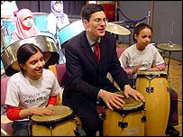 David Miliband and young musicians